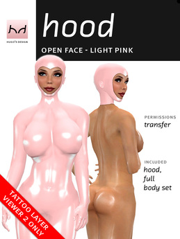 *HD* Open-Face Latex Hood - Baby Pink (for Viewer 2.0 Only)
