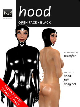 *HD* Open-Face Latex Hood - Black (for Viewer 2.0 Only)