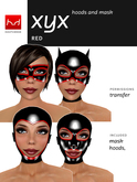 Hoods & Masquerade Mask Collection - Black Latex Hoods & Mask with Red Trim (Viewer 2.0 Only) - Hugo's Design
