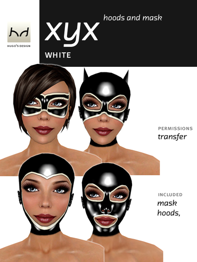 Hoods & Masquerade Mask Collection - Black Latex Hoods & Mask with White Trim (Viewer 2.0 Only) - Hugo's Design