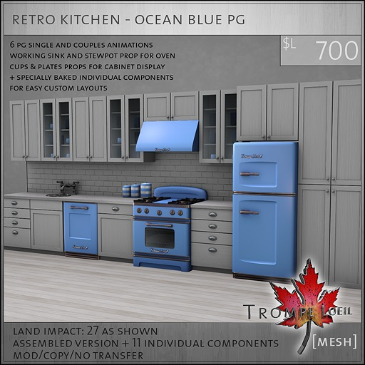 Trompe Loeil - Retro Kitchen Ocean Blue PG [mesh]