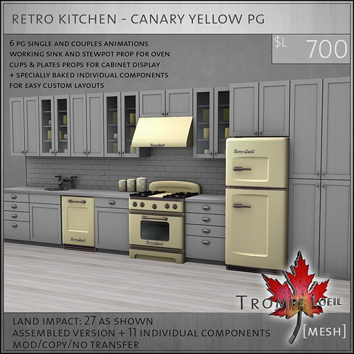 Trompe Loeil - Retro Kitchen Canary Yellow PG [mesh]