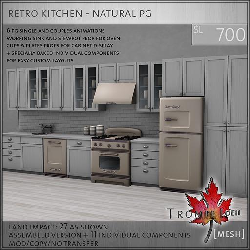 Trompe Loeil - Retro Kitchen Natural PG [mesh]