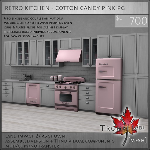 Trompe Loeil - Retro Kitchen Cotton Candy Pink PG [mesh]