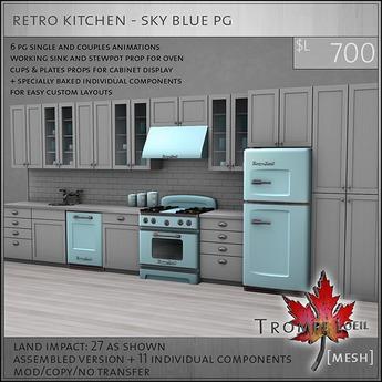 Trompe Loeil - Retro Kitchen Sky Blue PG [mesh]