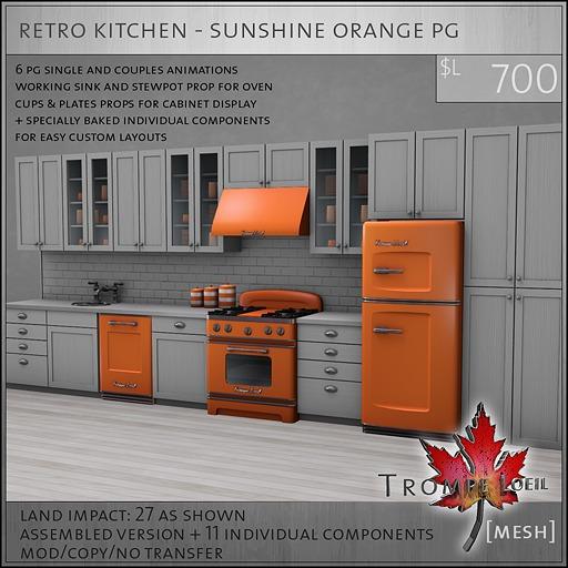 Trompe Loeil - Retro Kitchen Sunshine Orange PG [mesh]