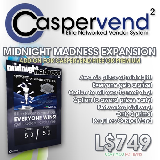 CasperVend² Midnight Madness! Expansion Pack - Encourage traffic mania in your store! MM Board - Slap it & dash!