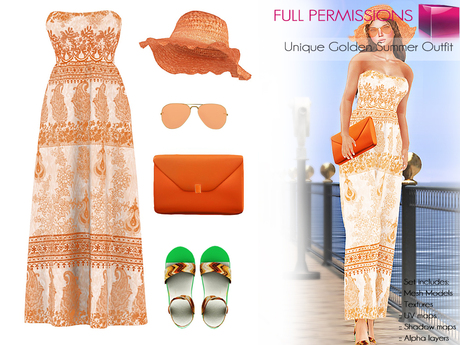 %50SUMMERSALE SAVE! CLASSIC RIGGED Women's Gold Strapless Maxi Dress with Ruffled Hat & Sunglasses & Clutch & Sandals