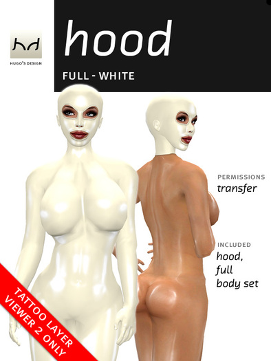 Full Latex Hood - White (Viewer 2.0 Only) - Hugo's Design Black