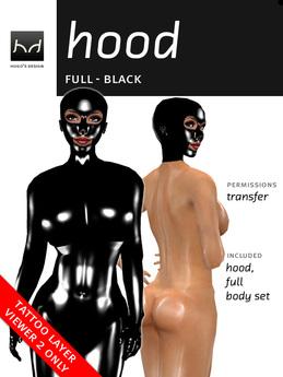 Full Latex Hood - Black (Viewer 2.0 Only) - Hugo's Design