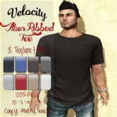 VELOCITY **SALE**Ribbed Plain Tee with 8 Texture HUD **SALE**