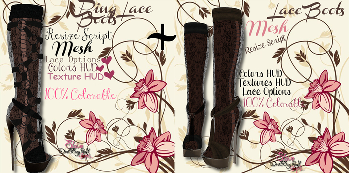 *SLAVE* Ring-Lace Boots (2 Versions)