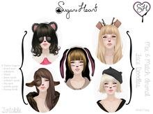 {Sugar Heart} Mix & Match Animal Face Doodles ~ Tintable