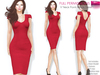 FULL PERM CLASSIC RIGGED MESH Women's V-Neck Cap Sleeve Scoop Back Pencil Skirt Bodycon Dress - 3 TEXTURES