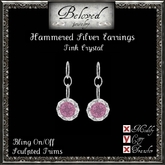 Beloved Jewelry : Hammered Silver Earrings (Pink Crystal)