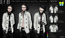 WHITE Pea Coat with Shirt and Tie