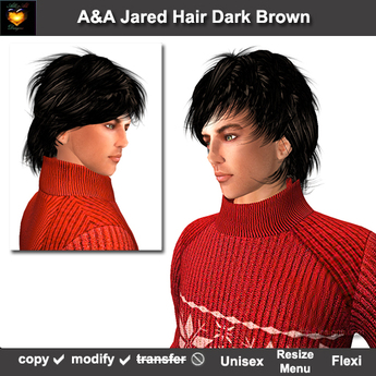 A&A Jared Hair Dark Brown (Special Color). Unisex fluffy sexy  flexi hairstyle. PROMO!