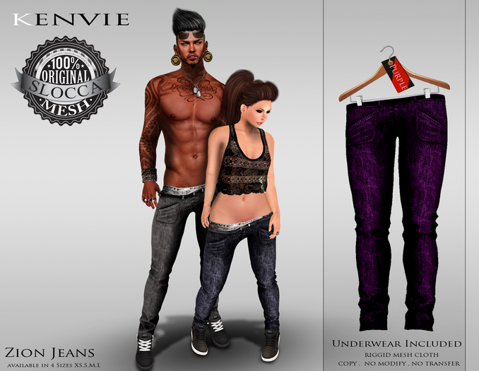 KENVIE .MALE.Zion Jeans - Purple