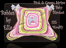 Baby Blanket - Pink & Green Stripe