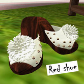Red Shoe-wedge white shoe