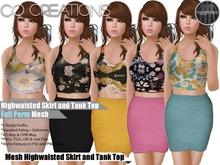 High Waisted Skirt & Tank Top Full Perm Mesh KIT