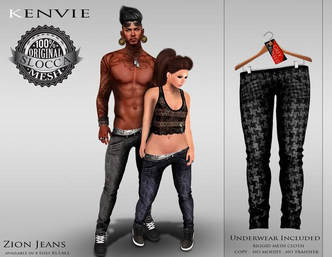 KENVIE .MALE.Zion Jeans - Grey Crossed