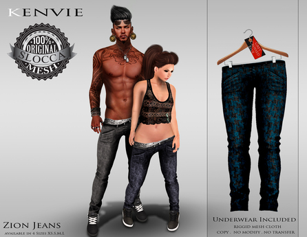 KENVIE .MALE.Zion Jeans - Grey Crossed Blue