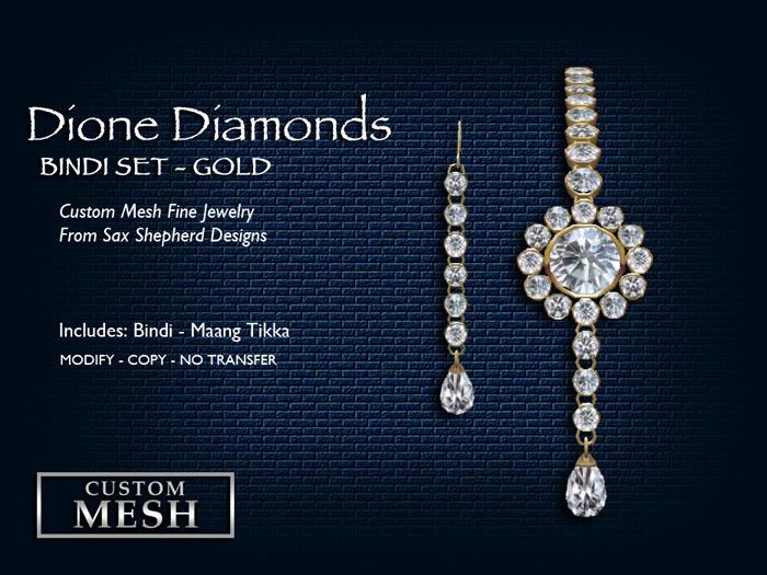 !SSD ~ Frills ~ Dione Gold Diamonds Bindi Set
