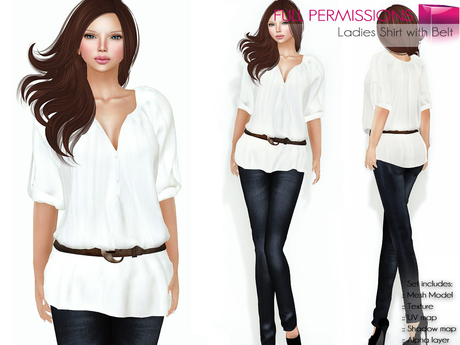 CLASSIC RIGGED MESH Women's White V-Neck Deep Cleavage Half Sleeve Loose Shirt Top with Brown Belt