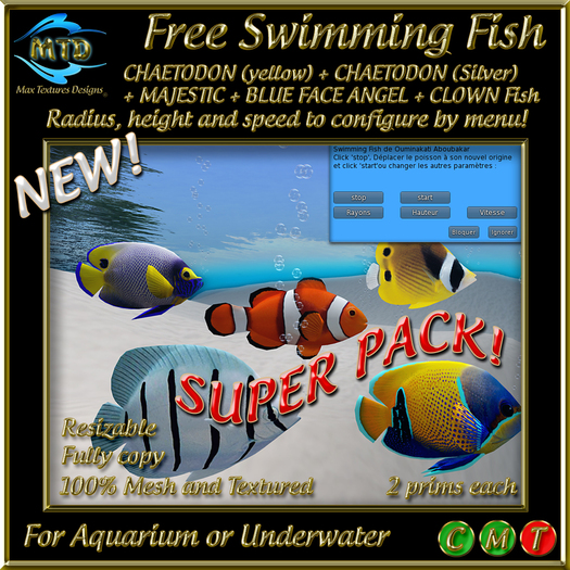 FREE SWIMMING FISH -SUPER PACK! (5 fishes) - UPDATE 2017
