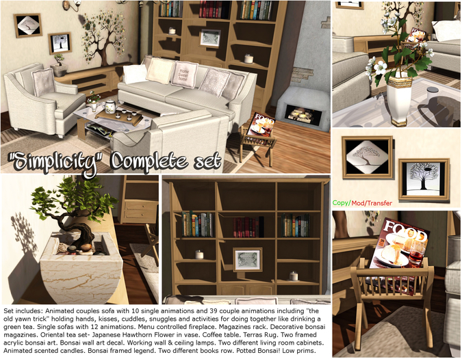 """<HEART HOMES> """"Simplicity"""" Complete Living Room set (Nature & Bonsai themed)"""