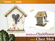 BirdHouse Clock Flower ♥ CHEZ MOI