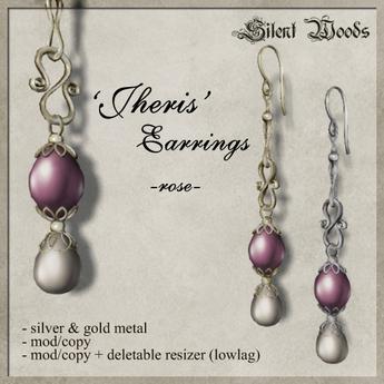 Silent Woods, 'Jheris' Earrings -rose-