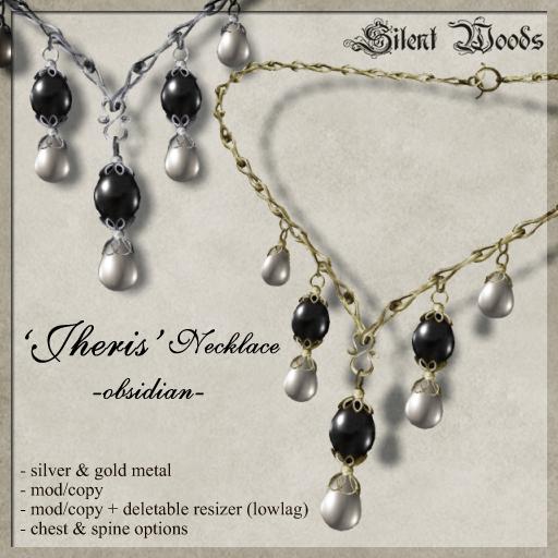 Silent Woods, 'Jheris' Necklace -obsidian-