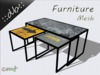 ::db furniture:: three coffee tables wood and metal printed