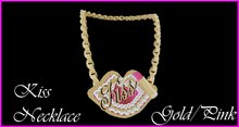 Kiss Necklace Gold/Pink
