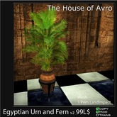 Egyptian Urn with Fern v2 - Mesh - only 1 Prim, Gothic Furniture