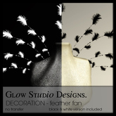 [ glow ] studio - decoration - feather fan (black&white)(boxed)