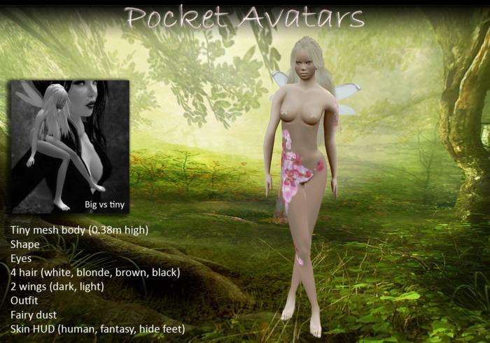 Pocket Avatars, complete tiny mesh avatar, petite in size, moon elf, pink petals