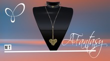 AFantasy Gold Cross w/Angel Wings Long Necklace