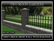GREY BRICK MESH WALL WITH RAILINGS. 2 PRIMS PER SECTION