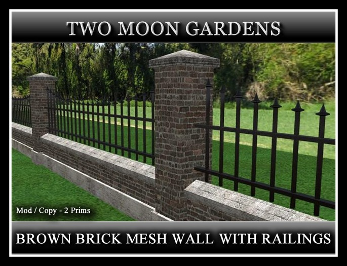 BROWN BRICK MESH WALL WITH RAILINGS. 2 PRIMS PER SECTION