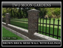 GREY BRICK MESH WALL WITH RAILINGS*