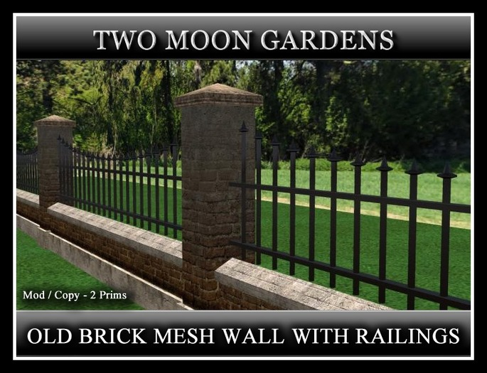 OLD BRICK MESH WALL WITH RAILINGS. 2 PRIMS PER SECTION
