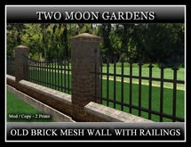 GREY BRICK MESH WALL WITH RAILINGS*