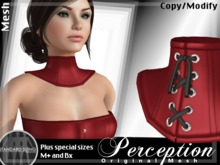 *Perception* Neck Corset -- Red Leather
