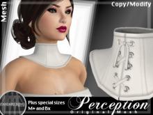*Perception* Neck Corset -- White Leather