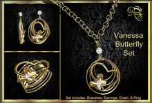 Vanessa Butterfly Set (Gold) (Boxed)