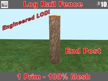 Log Rail Fence -End Post with Sugar Pine Bark