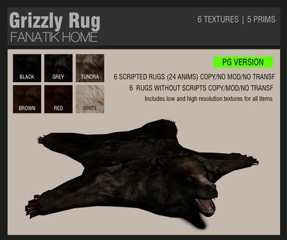 :FANATIK HOME: Grizzly Rug PG - animated bear mesh rug